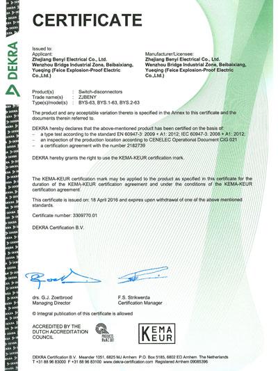 KEMA certificate
